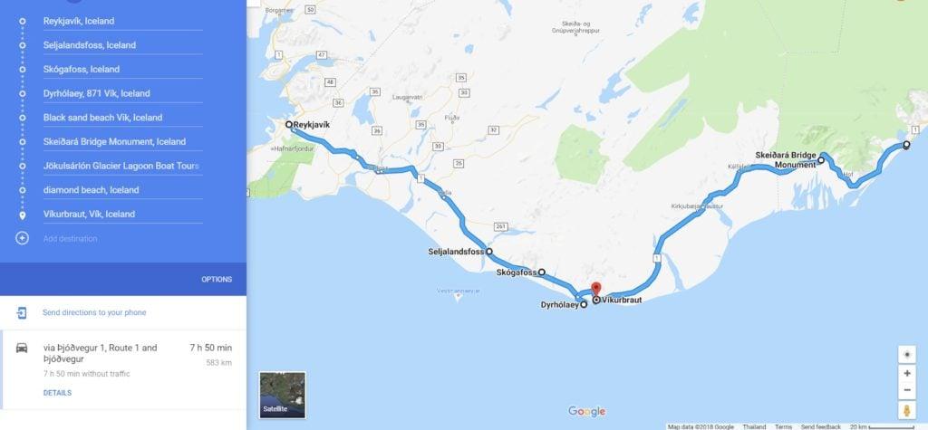 Google Map to get to Jökulsárlón Glacier Lagoon