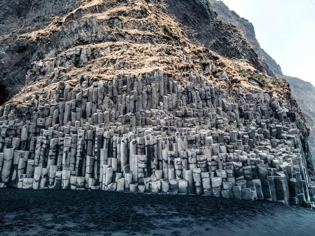 Vik black sand beach basalt columns.