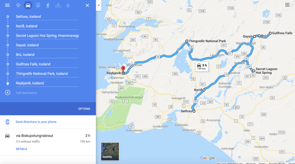 Map for driving the golden circle in Iceland
