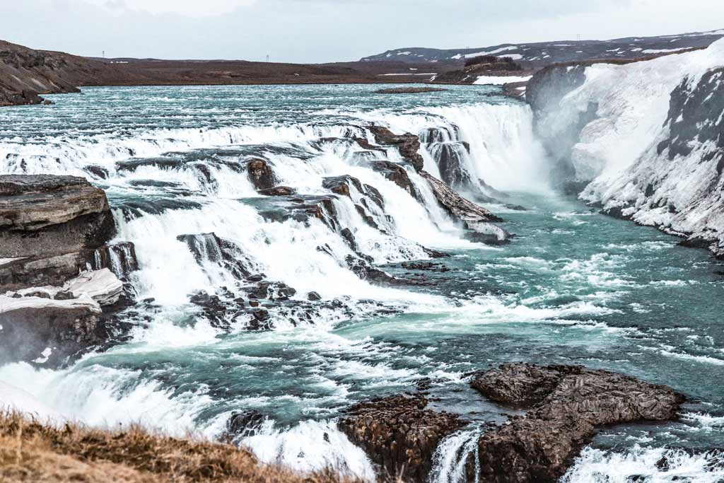 Visit Gullfoss Waterfalls while driving the Golden Circle