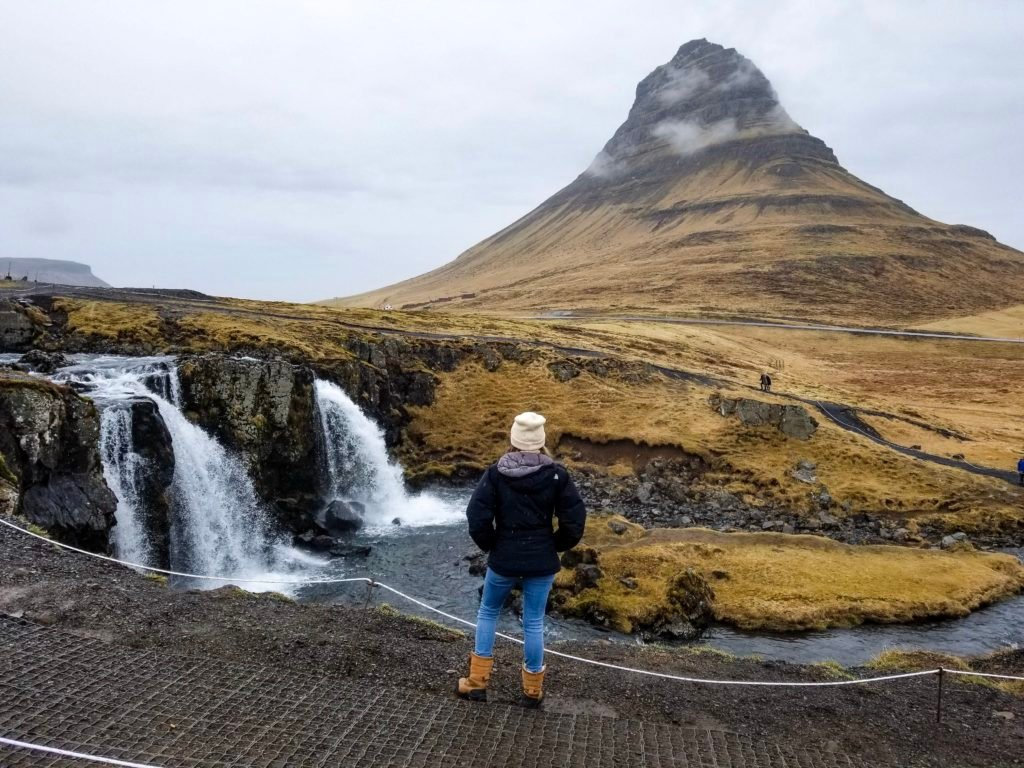 View of Kirkjufell waterfalls in Iceland