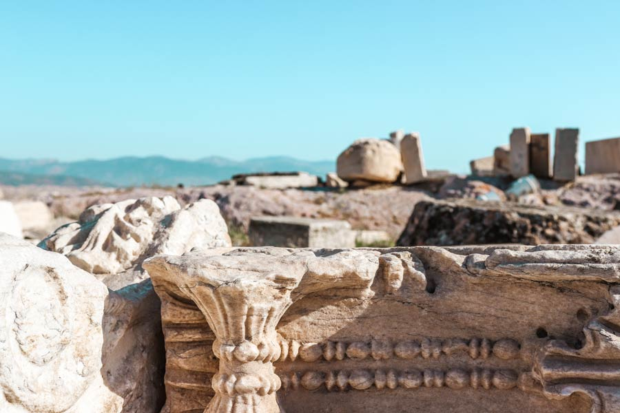 Acropolis closeup on ancient ruins