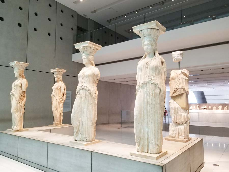 Caryatids from the Acropolis located in the museum of the Acropolis in Athens, Greece.