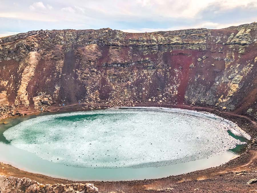 Driving the Golden Circle to Kerið Crater Lake in Iceland.