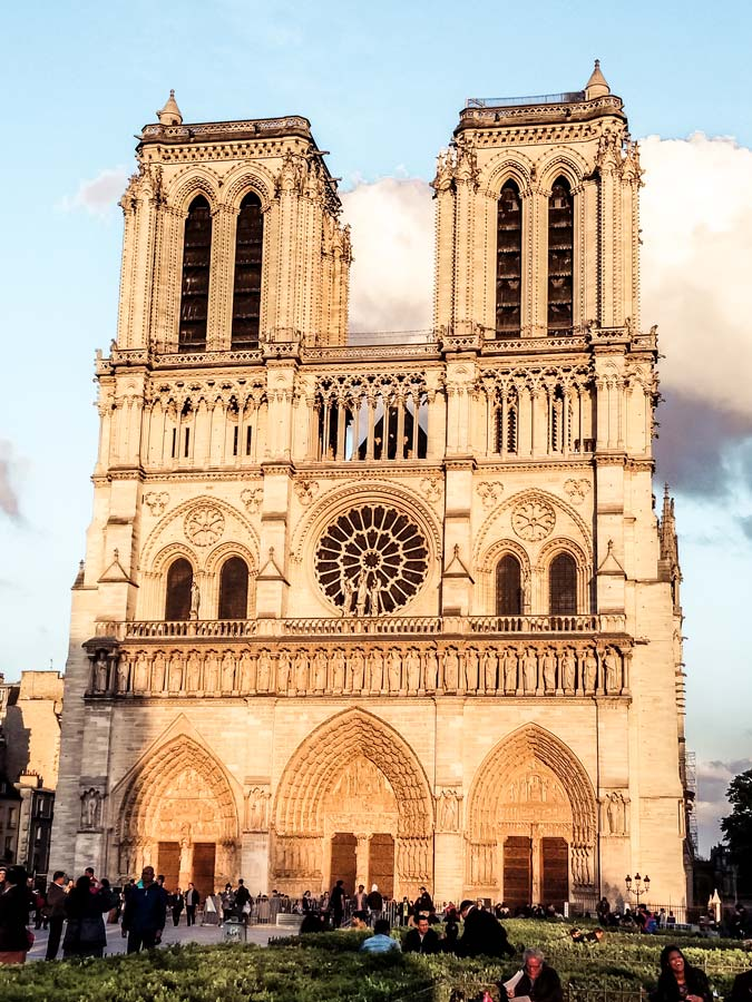 Notre Dame is a must with 5 days in Paris. Front of Notre Dame during sunset