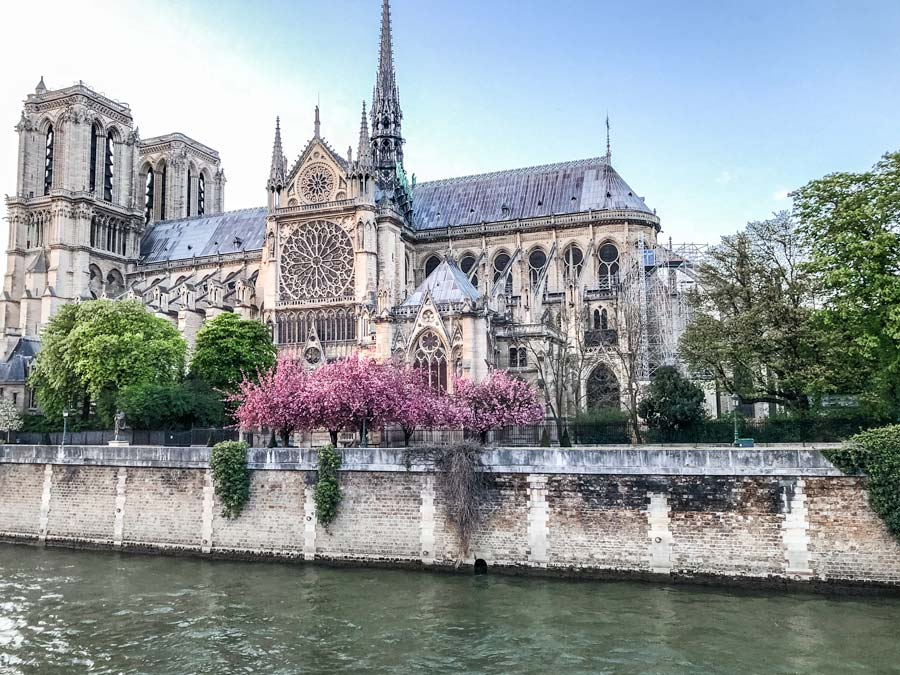 Notre Dame in Paris side view in the Spring is a photo worthy spot