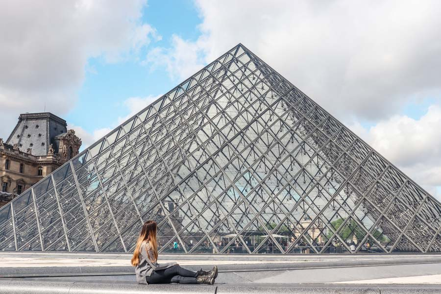 Louvre Pyramid view in Paris