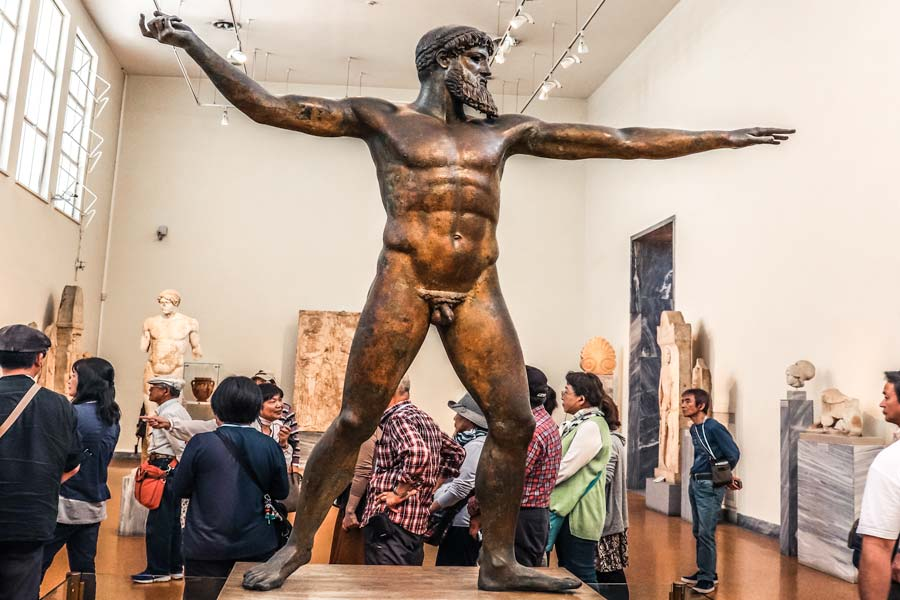 Visiting the Archeological Museum is a must on with 4 days in Athens Greece Itinerary. Bronze Statue of Zeus or Poseidon