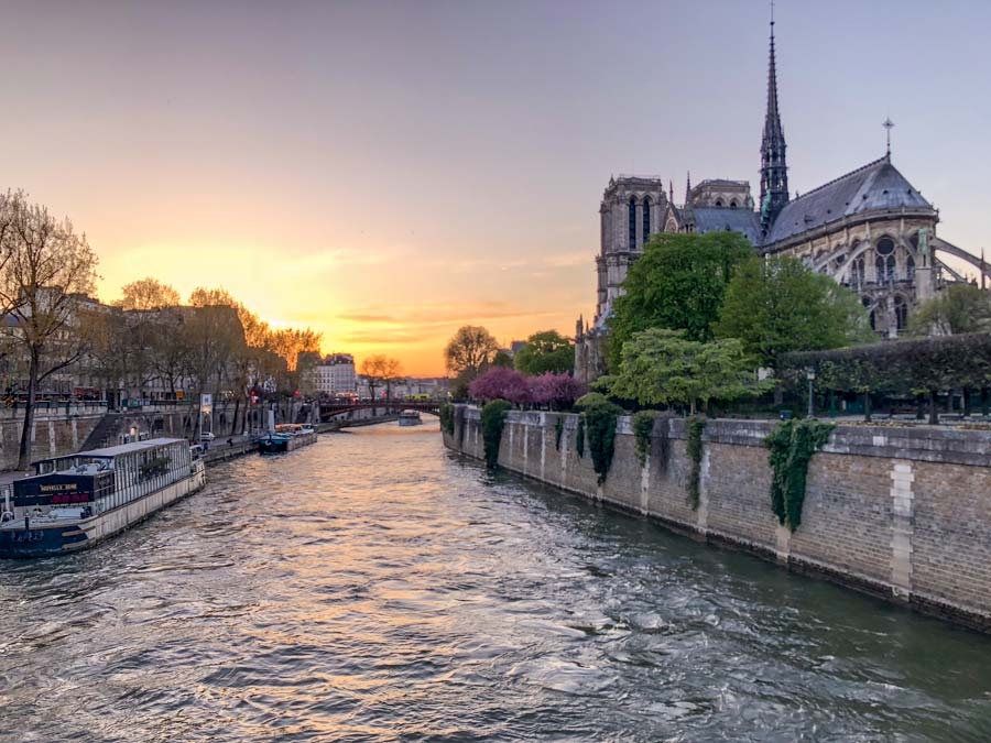 View down the Paris Seine River at Sunset