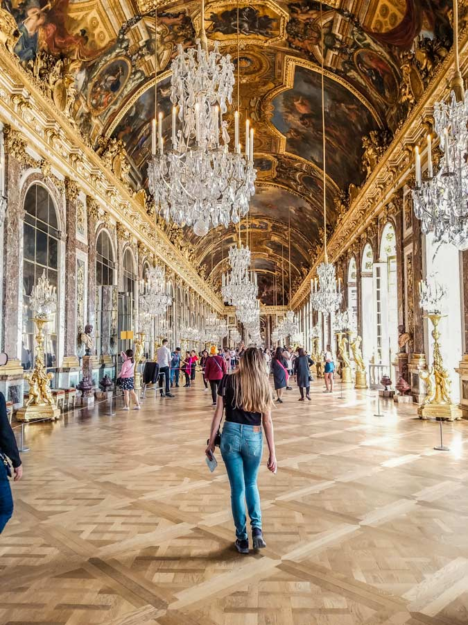 Hall of Mirrors in Versailles, Paris France.