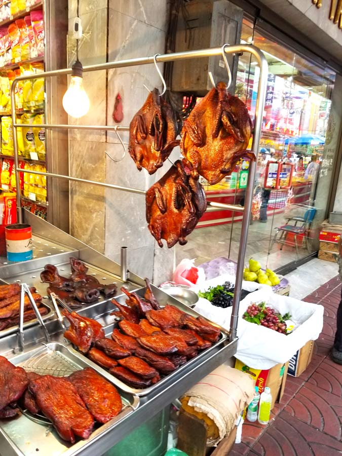 Food Stall in Bangkok, Thailand with duck hanging