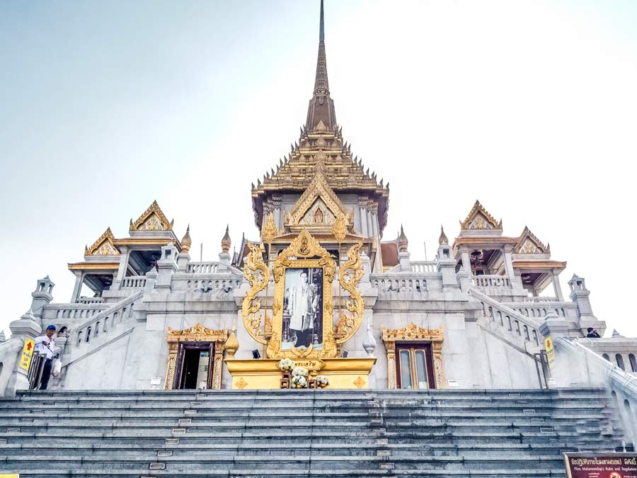 Bangkok temple in Thailand with the king photo
