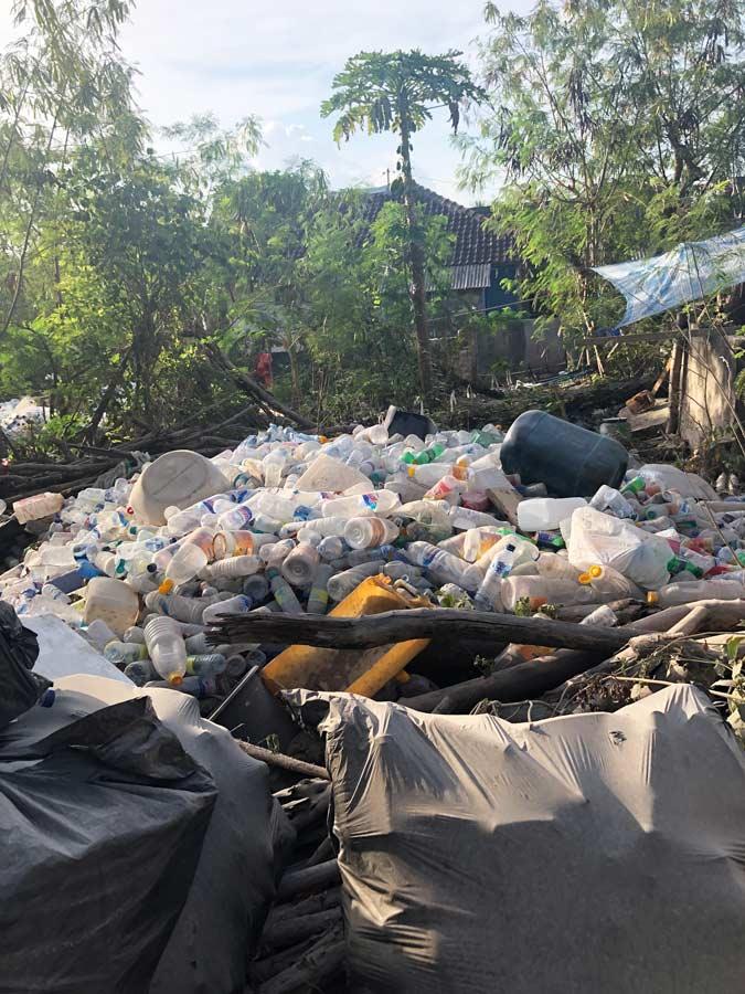 Pile of garbage in Nusa Islands in Bali