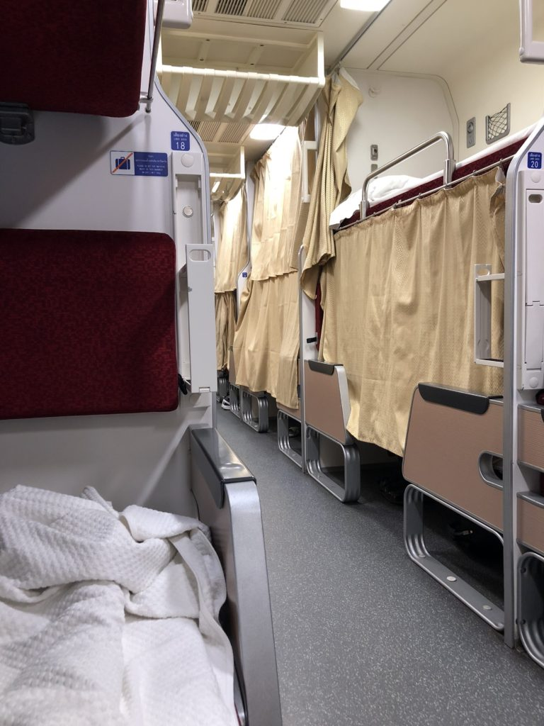 photo of train cart beds in the sleeper train to Chiang Mai, thailand