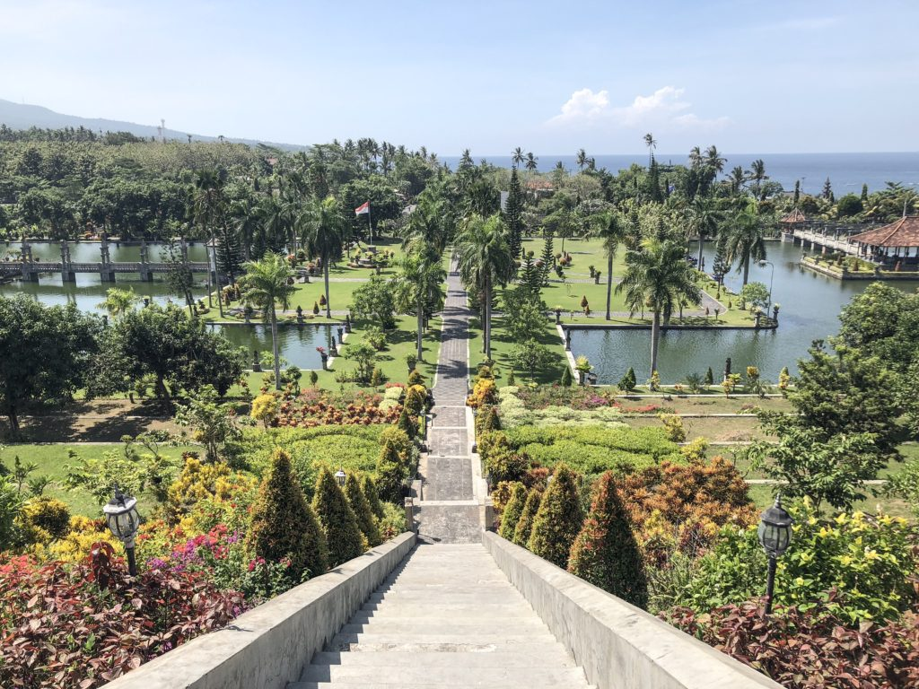 Taman Soekasada Ujung overview with mountains and ocean
