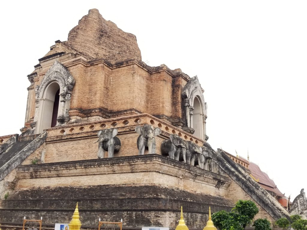 Side view of Wat Chedi Luang temple elephants in Side view of Wat Chedi Luang