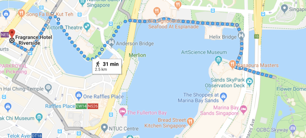 Singapore walking map with must-see destinations along the way