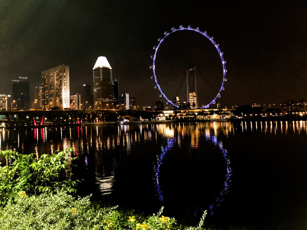 View of the Singapore Flyer at night by the Helix Bridge.