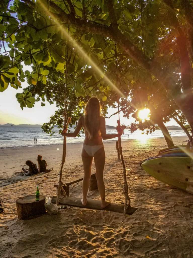 Go to the Swings on Ao Nang Beach in Krabi on your 4 day itinerary