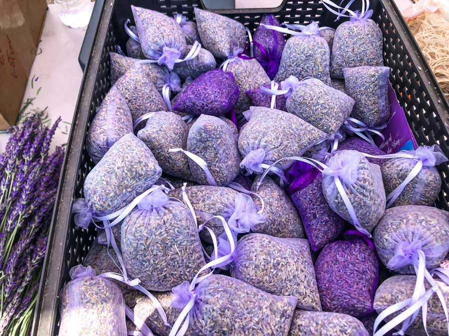 Dozens of lavender sachets in a crate at Lavender by the bay.