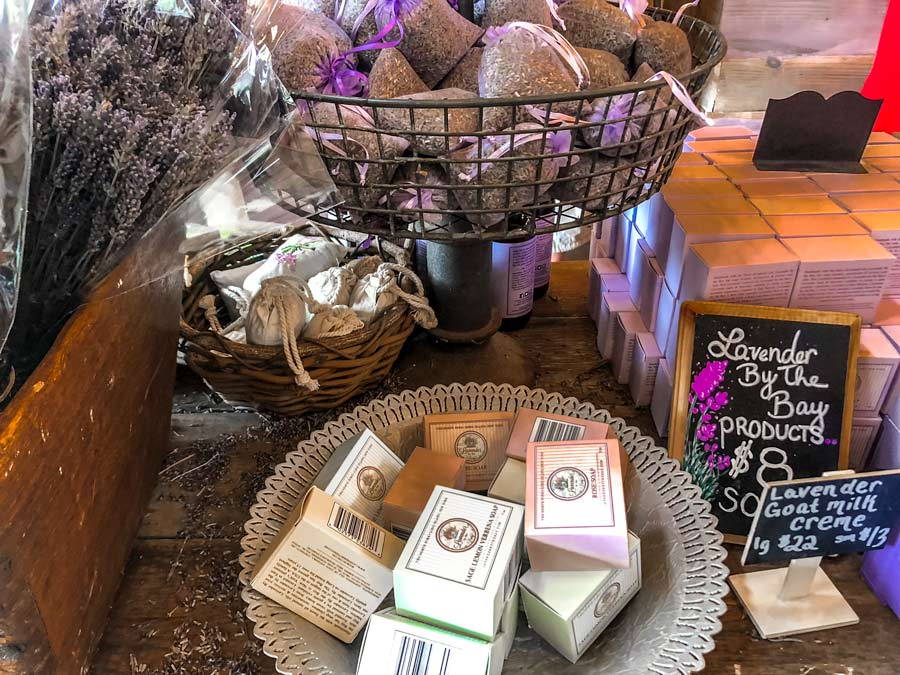 :lavender by the bay soaps and other lavender products on a table