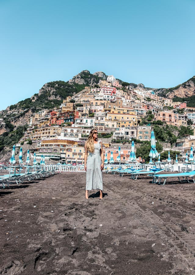 Positano Italy on the Amalfi Coast is a must visit on your Sorrento Itinerary. View from the beach.