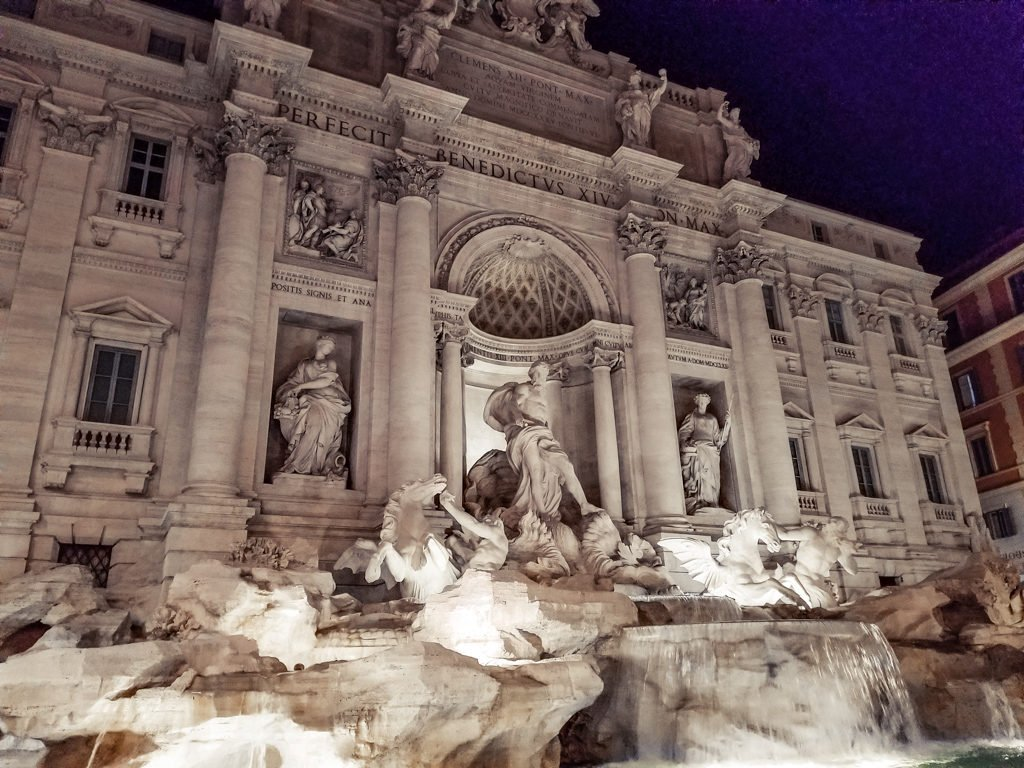 View of the Trevi Fountain at night with 4 days in Rome