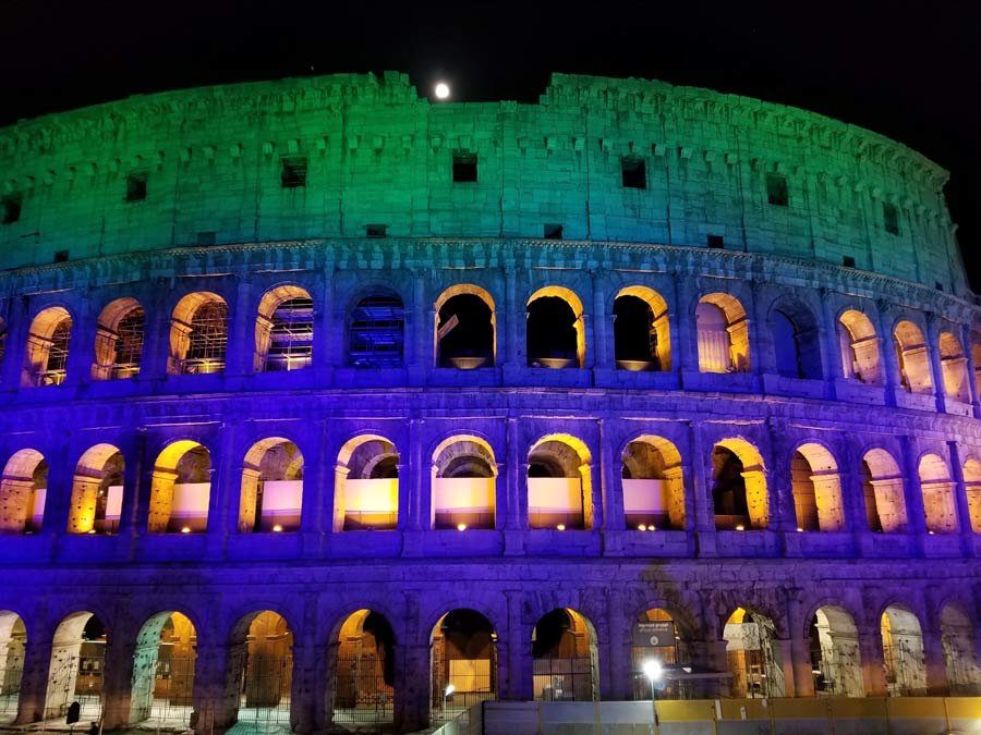 Colosseum in Rome at night.