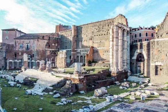 Forum of Augustus in Rome, Italy full of Roman ruins.