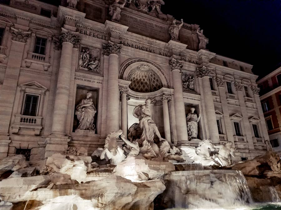 View of the Trevi Fountain in Rome at night