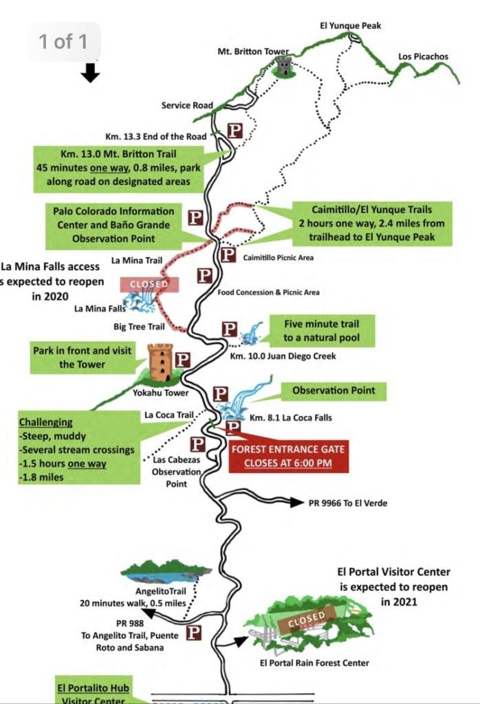 El Yunque Park Map