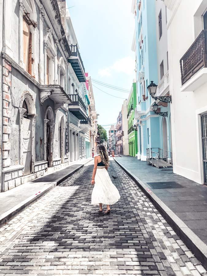 Street of Calle de la Luna & Calle De San Josein Old San Juan is one of the best colorful streets to see.