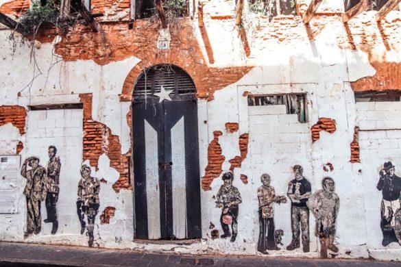 Old San Juan Puerto Rico Black Flag