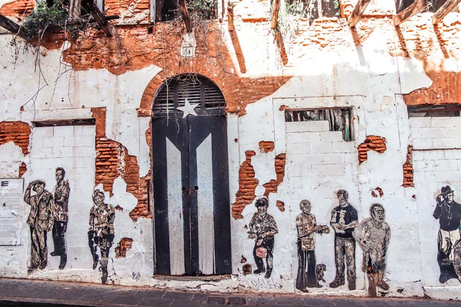 Old San Juan Puerto Rico Black Flag
