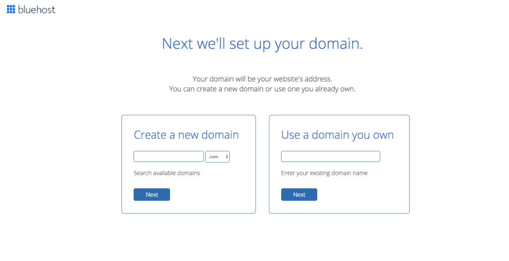 Choose your domain name to build your website with bluehost