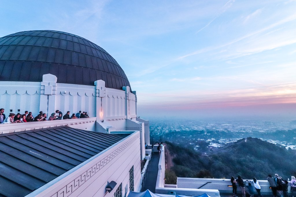 Sun setting at Griffith Observatory in Los Angeles