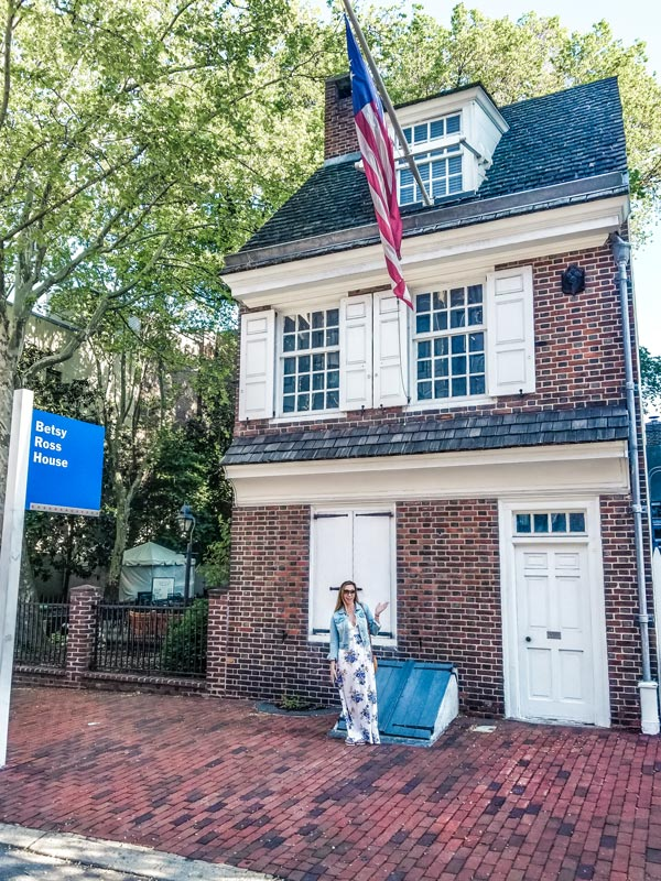 Front of the Betsy Ross house in Philadelphia during the weekend