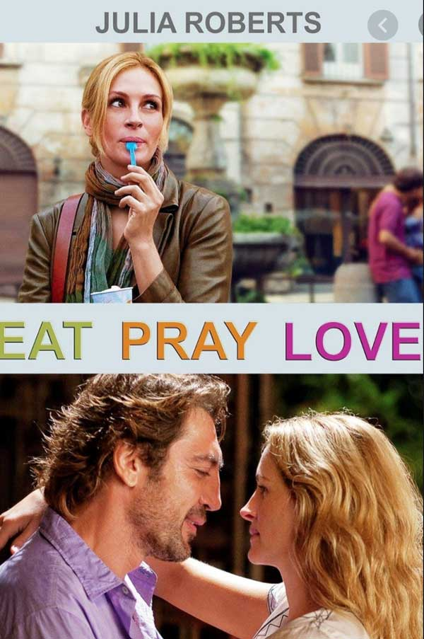 Eat Pray Love movie to inspire travel