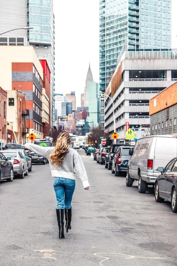 Walking down New York Street