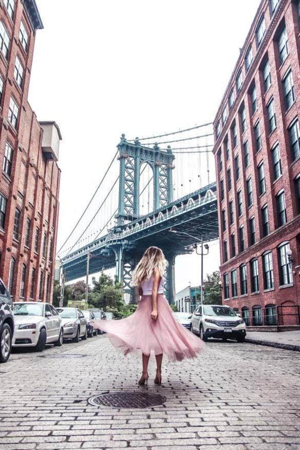 Famous Manhattan Bridge photo location in Dumbo, Brooklyn