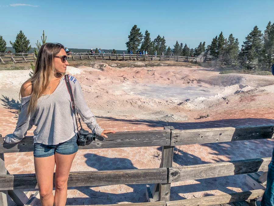 Mud pot in Fountain paint pot is a must-see attractions in yellowstone