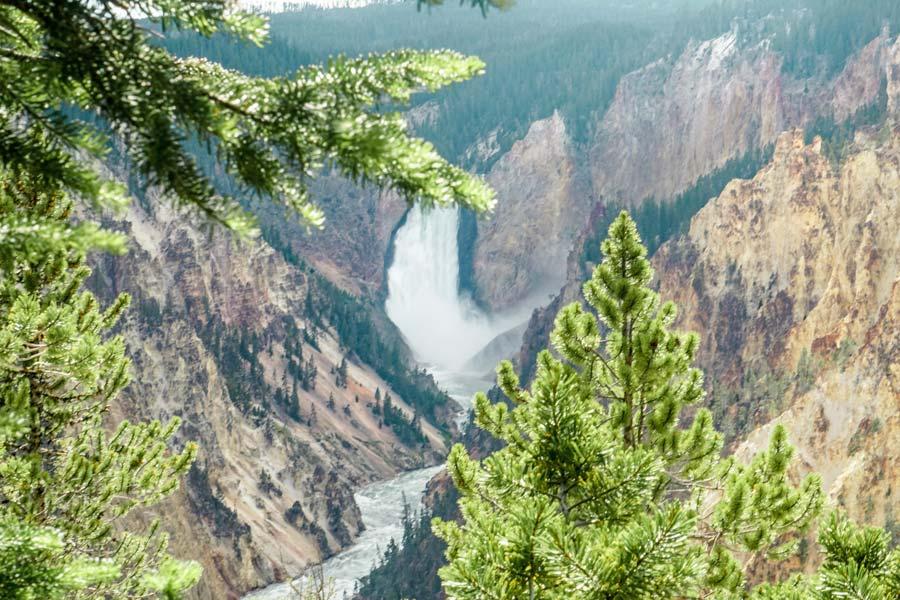 View of Yellowstones waterfall