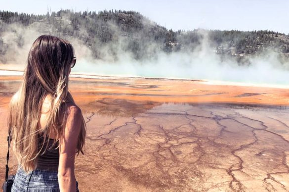 Standing next to Grand Prismatic Springs in Yellowstone