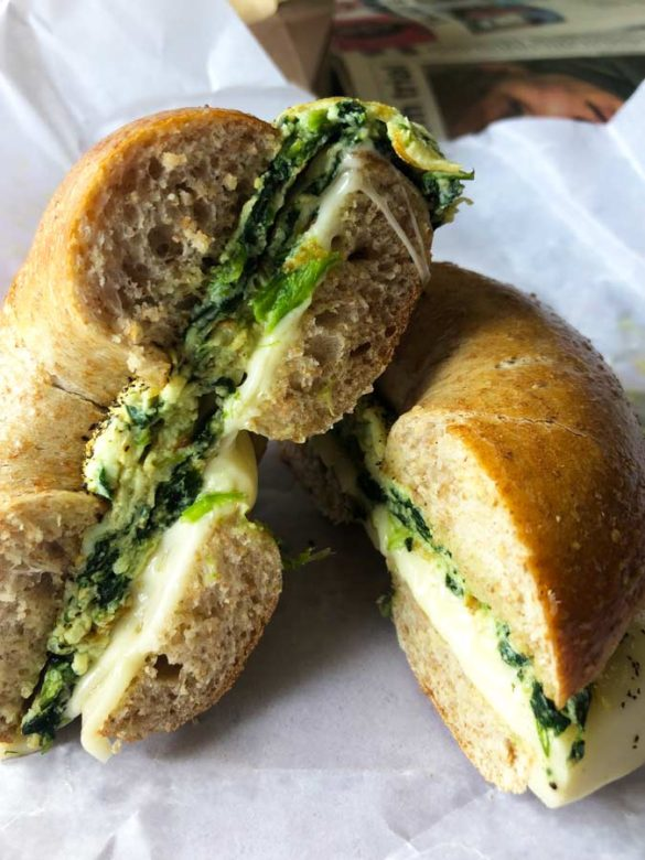 A top New York City travel tips is to have a egg bagel sandwich