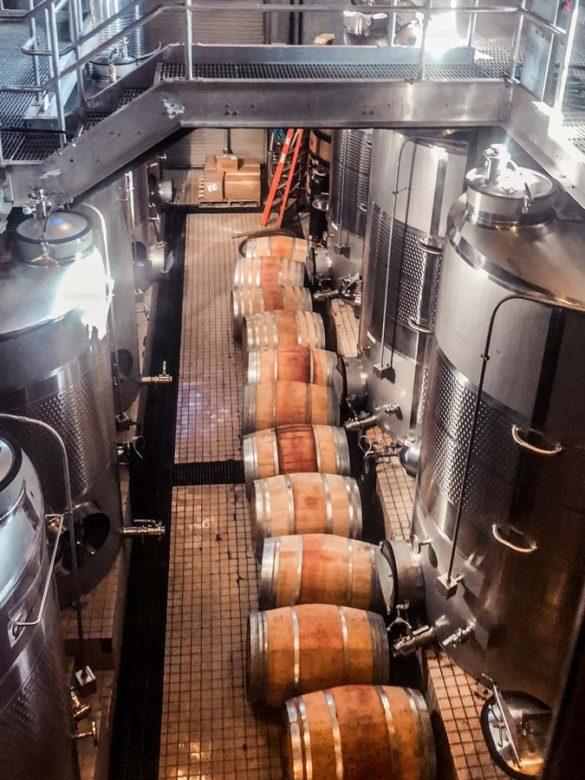 Making wine inside Wolffer Estate