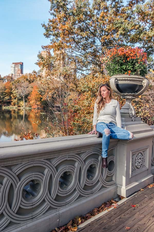 Central park in Fall in NYC at Bow Bridge.