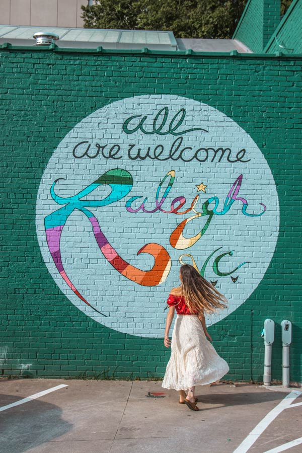 All are Welcome to Raleigh Mural is a great photo location
