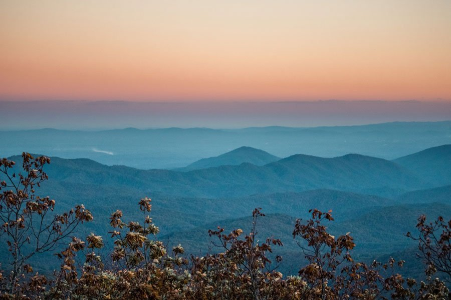 Blue Ridge Parkway sunset road trip