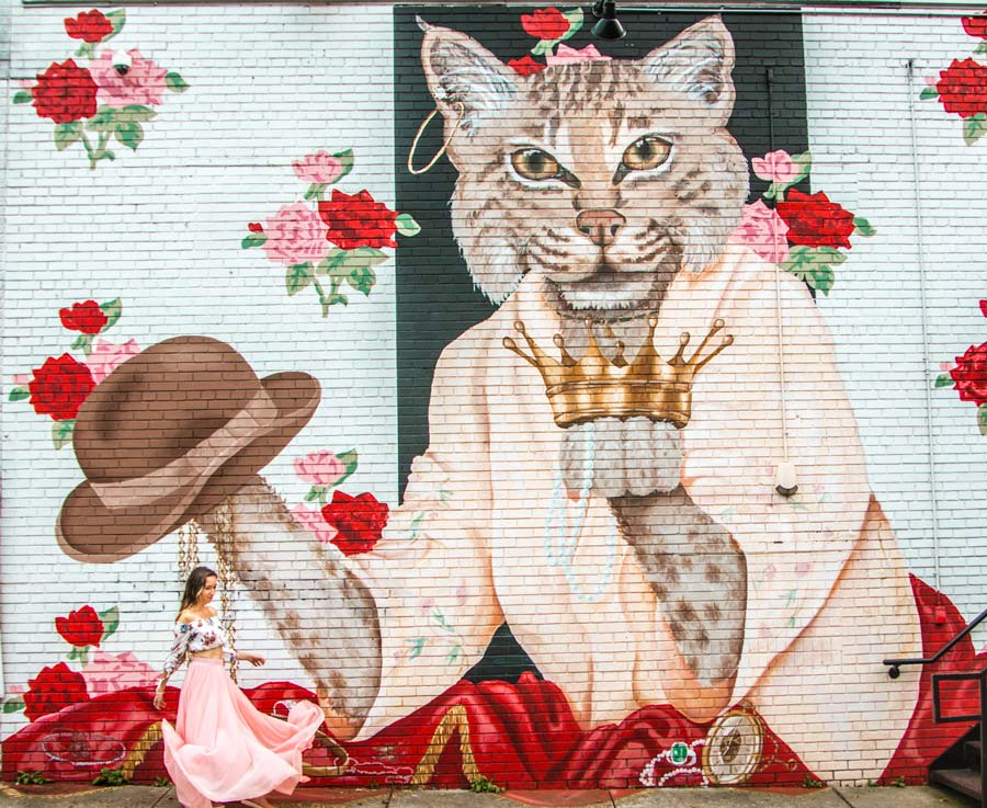Insta-worthy Sprinkles Murals in downtown Raleigh. Large mural of cat with a crown, red and pink flowers with woman.