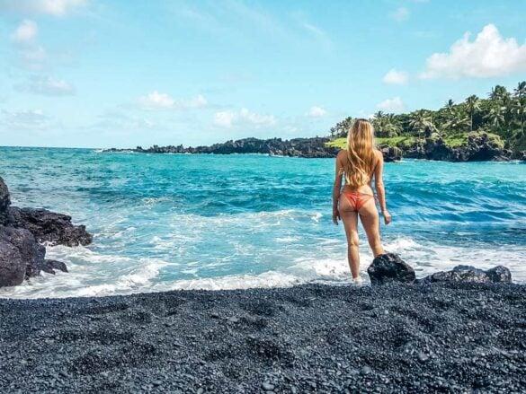 The black sand beach on the Road to Hana in Maui